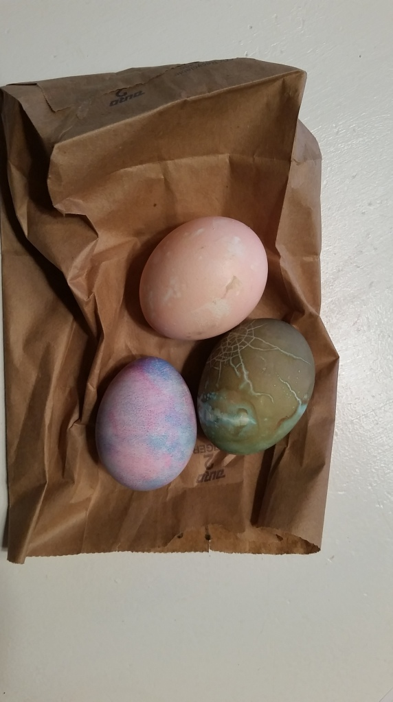 "E dyed eggs at school and instead of saving them forever to commemorate her first ""Real"" Easter Eggs, I figured a photo would do the trick."